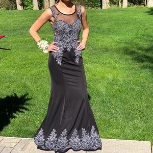 Black Beaded Full Length Gown